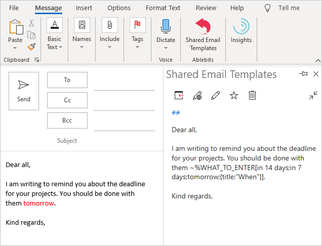 A sample template for Outlook emails