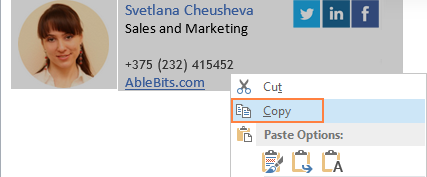 Copy the Outlook email signature you've just created.