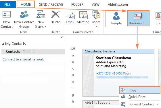 Outlook signature how to create add and change email signature to prevent attaching a f file copy business card directly from outlook contacts reheart Choice Image