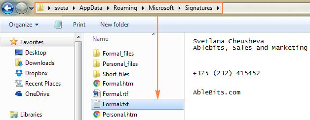 Find the .txt file with the name corresponding to your Outlook signature name.