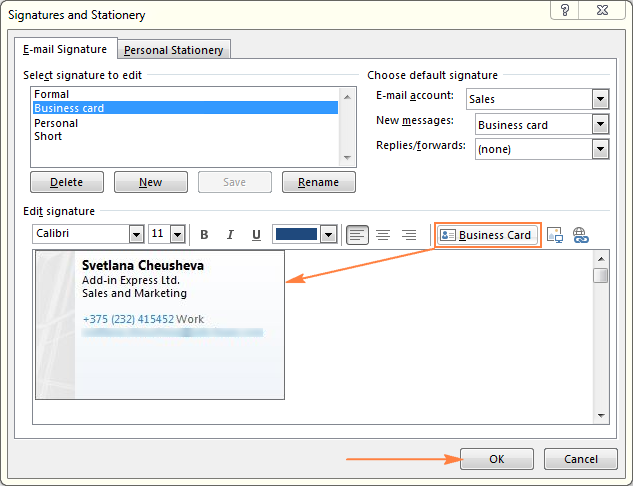 Creating an Outlook signature based on business card.