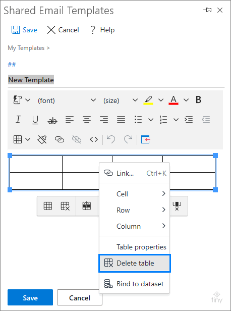 How to delete a table from a template.