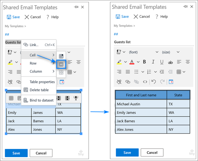 Merge the header rows in an Outlook table.