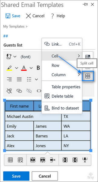 Unmerge the cells without losing their content in Outlook.