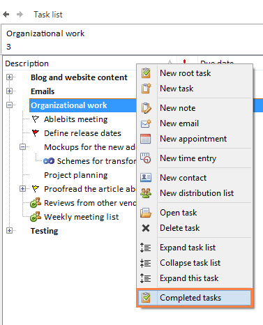 Right-click on your task list and select Completed tasks
