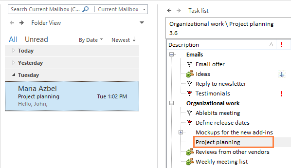 See your email in the list of tasks