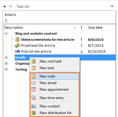 Create task specific emails, notes, appointments, time entries, contacts and distribution lists