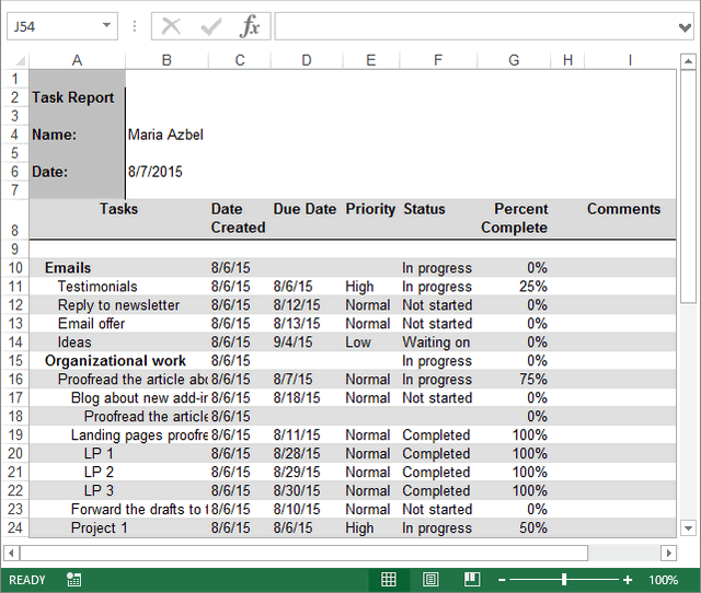 Task list report in Excel