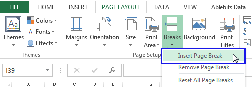 Go to the Page Layout tab, click Breaks in the Page Setup group and select the option Insert Page Break