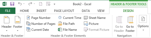 Insert page numbers in Excel 20102013 – Excel Worksheet Name