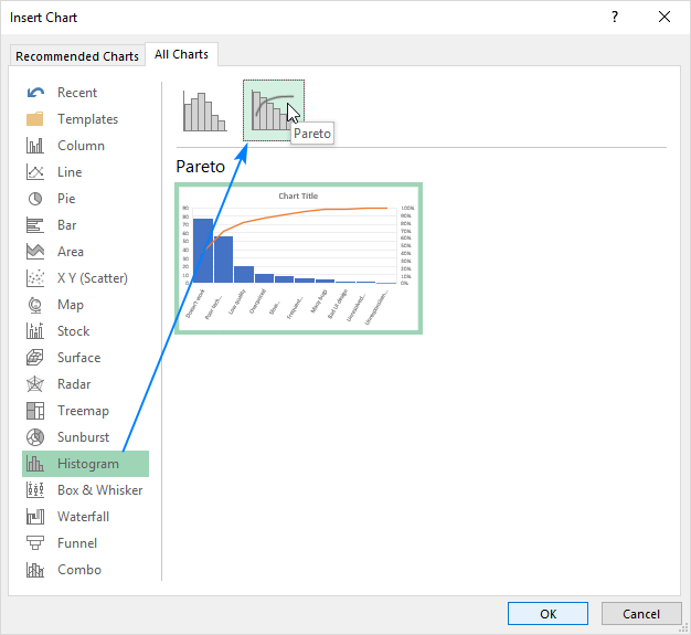 Creating a Pareto chart in Excel 2016
