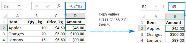 Copying values in Excel