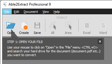 Open the PDF document to be converted to Excel.