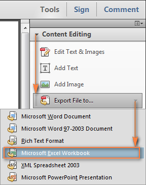 Export Pdf To Microsoft Word Or Microsoft Excel