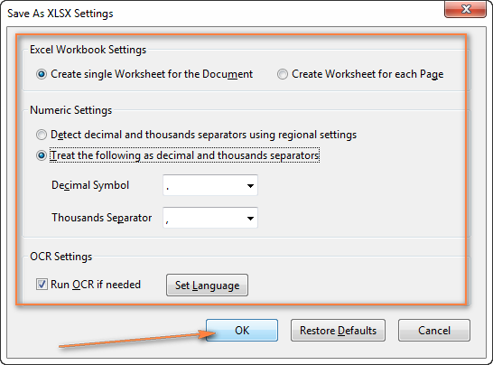 Configure the settings to convert your PDF file to Excel.