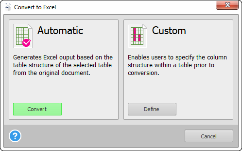 Automatic and Custom conversion options.