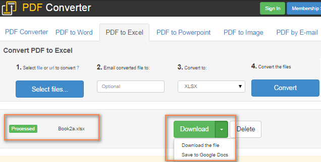 Convert PDF to Excel manually or using online converters