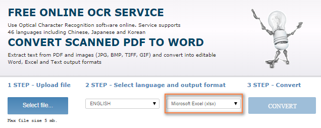 Free online OCR service to convert a scanned PDF to Excel