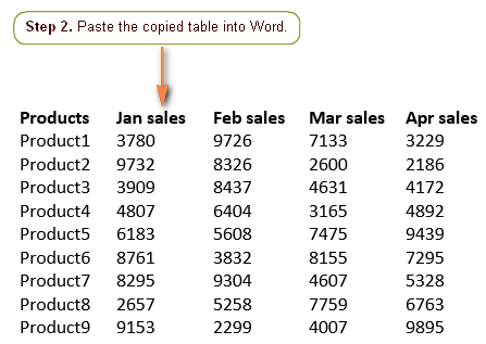 Paste the table into a Word document.