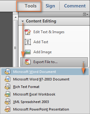 Convert PDF to Word using Adobe Acrobat.