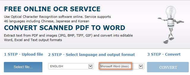 Free online OCR service to convert a scanned PDF to Word