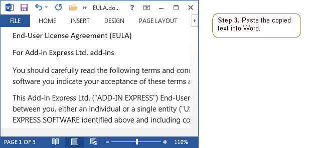 Paste the copied text into Word.
