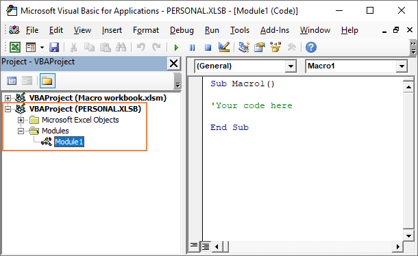 Adding a macro to the Personal.xlsb file