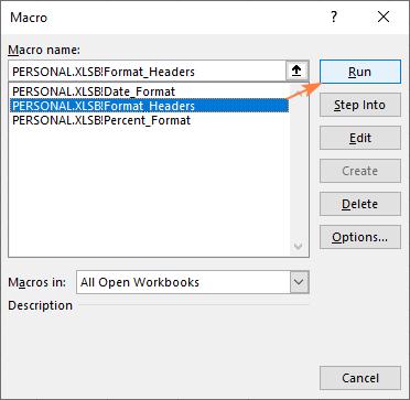 Run a macro stored in a personal workbook.