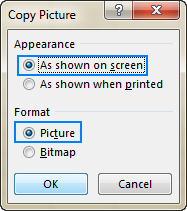 Choose to save the copied data As shown on screen or As shown when printed.