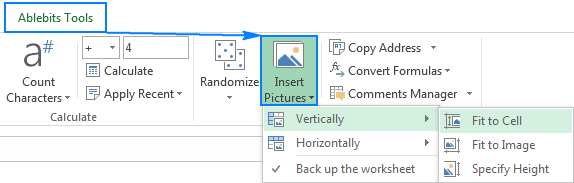 Insert multiple pictures into cells in Excel