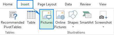 Inserting an image in Excel from a computer