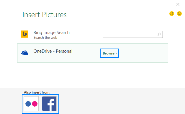 Inserting a picture in Excel from OneDrive, Facebook or Flickr