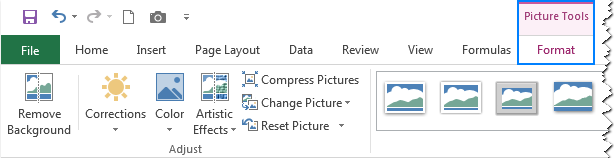Options to change the picture's colors and styles