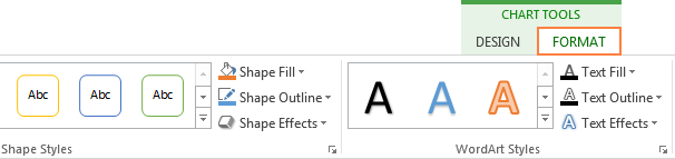 Formatting options for different pie chart elements