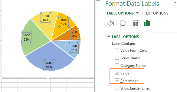 Excel Pie Chart Percentage And Value