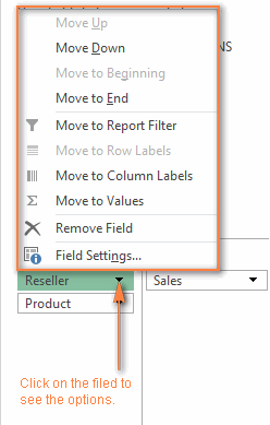 Click on the filed in the Layout section to display the options available for that field.