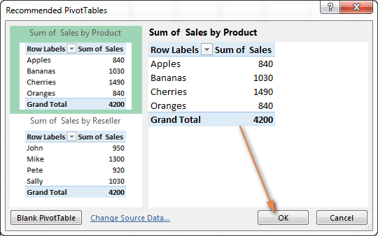 Using Recommended PivotTables in Excel 2013
