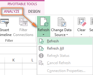 Refreshing the pivot table manually