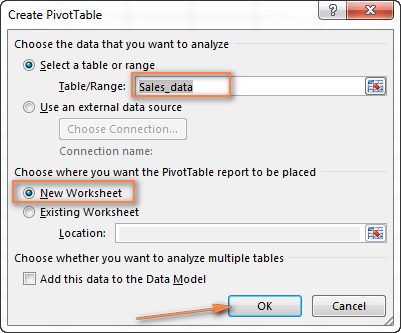 Choose the target location for your Excel pivot table.