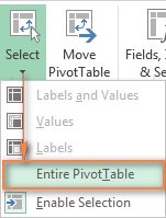 Deleting an Excel pivot table