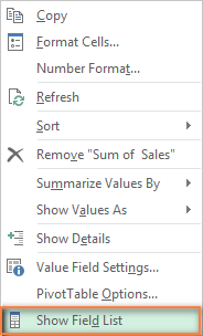 Re-opening the PivotTable Field List