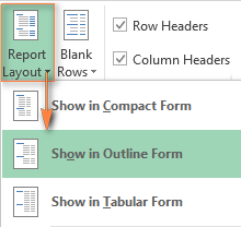Switching to the Outline Form or Tabular Form