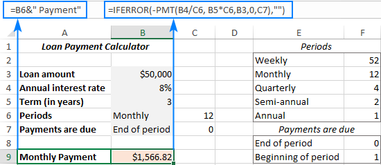 Formulas for Excel loan calculator