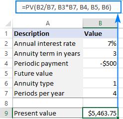 Máy tính giá trị hiện tại trong Excel