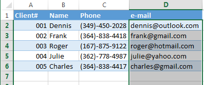 Select all the cells in your column