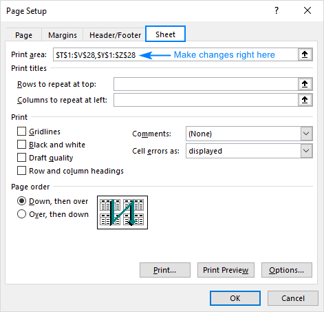 Changing print area in Excel