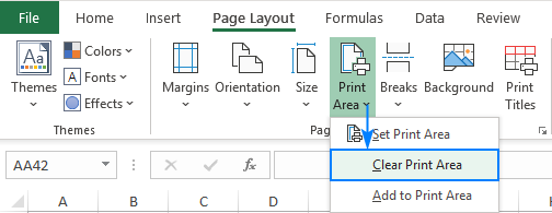Clear print area in Excel.