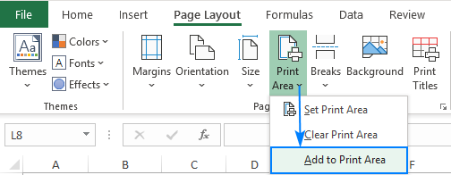 Expanding the print area in Excel