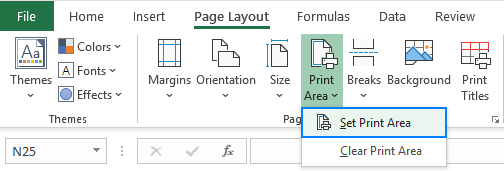 Fastest way to set print area in Excel