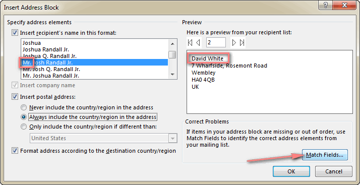 Click the Match Fields... button to help Word correctly interpret the address elements.
